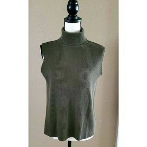 Eileen Fisher Olive Green Ribbed Wool Turtleneck Sleeveless Sweater M